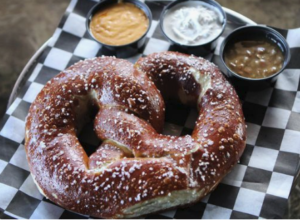 pretzel with sauces